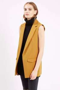 topshop mustard sleeveless jacket